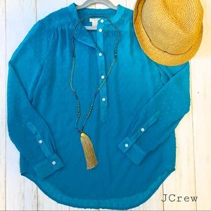 J.Crew teal sheer half button tunic rare xs